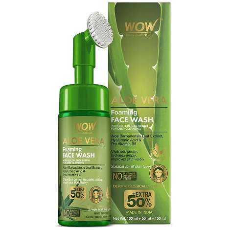 Wow Aloe Vera Foaming Face Wash With Built-In Face Brush For Deep Cleansing 150ml