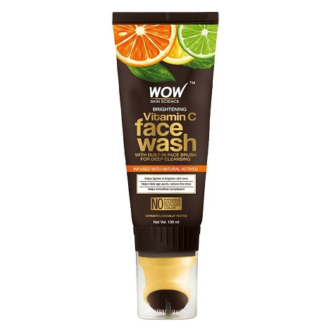 Wow Brightening Vitamin C Face Wash Gel with Built-In Face Brush for Deep Cleansing 100ml